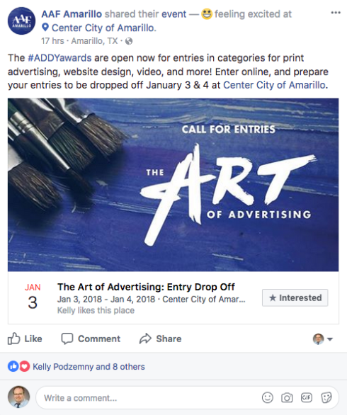 "A ""The Art of Advertising"" Facebook Post"