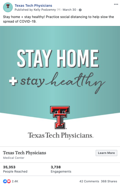 Texas Tech Physicians social media: Stay Home + Stay Healthy