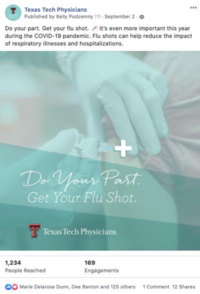 Texas Tech Physicians social media: Flu Shot PSA