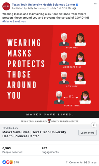TTUHSC #MasksSaveLives Social Graphic